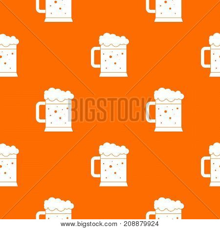 Beer mug pattern repeat seamless in orange color for any design. Vector geometric illustration