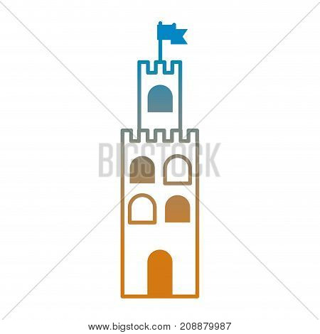 line summer sandcastle design in the beach vector illustration