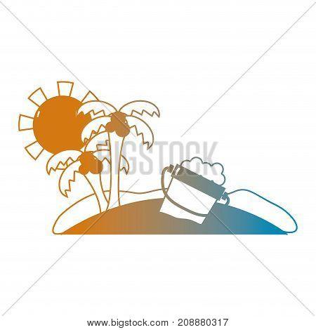 line summer beach and tropical paradise vector illustration