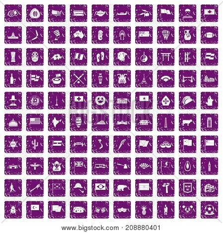 100 national flag icons set in grunge style purple color isolated on white background vector illustration
