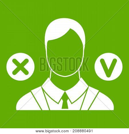 Selection icon white isolated on green background. Vector illustration