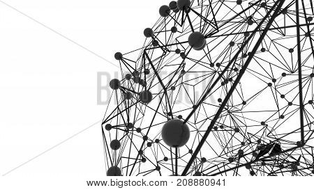 Global network connection. Points and line composition concept of global business. 3D Illustration