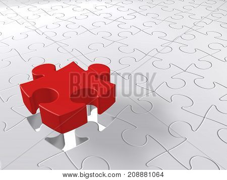 Puzzle Last Piece Coming Down, Jigsaw Concept, White Background