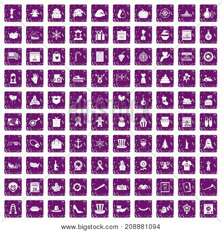 100 national holiday icons set in grunge style purple color isolated on white background vector illustration