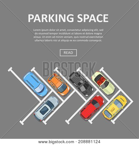 Parking space template. Place and spot to park a car or other vehicle, outside surface with vacant set. Vector flat style cartoon illustration isolated on gray background, top view, copyspace