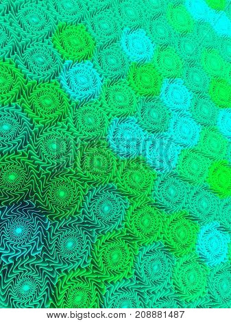 Abstract pattern background of three-dimensional colored green shapes 3D rendering