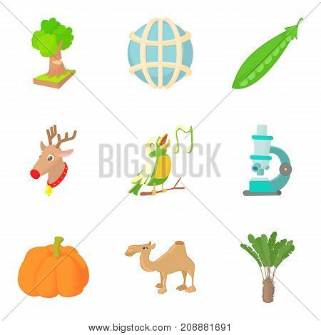 Healthy animal icons set. Cartoon set of 9 healthy animal vector icons for web isolated on white background
