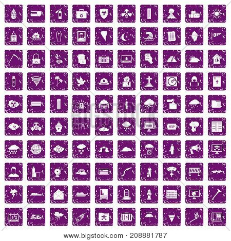 100 natural disasters icons set in grunge style purple color isolated on white background vector illustration