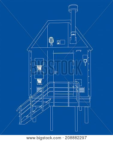 Wire-frame industrial building. Vector rendering of 3d. Wire-frame style