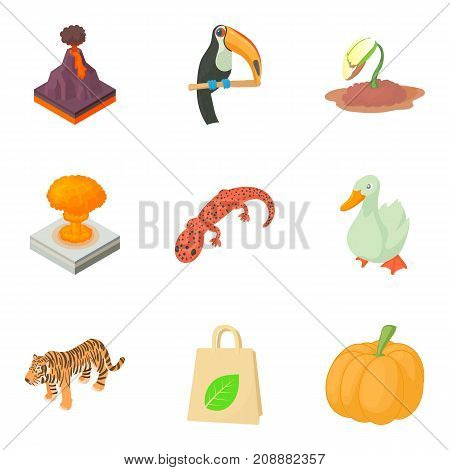 Threat to nature icons set. Cartoon set of 9 threat to nature vector icons for web isolated on white background