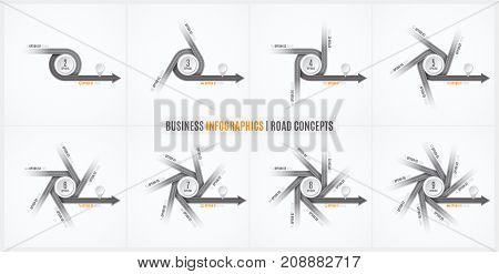 Navigation map infographic concept. Crossroad with the right way. Vector illustration