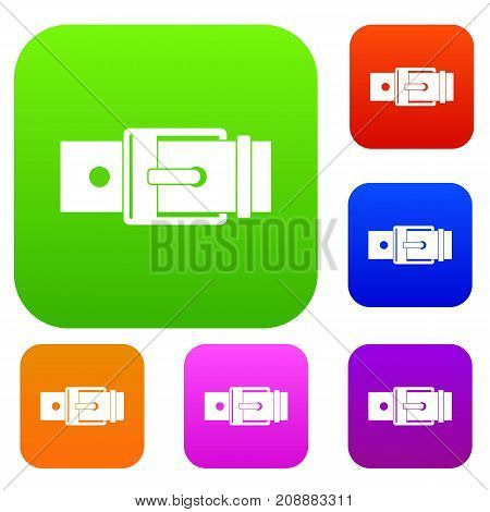 Belt with square buckle set icon color in flat style isolated on white. Collection sings vector illustration
