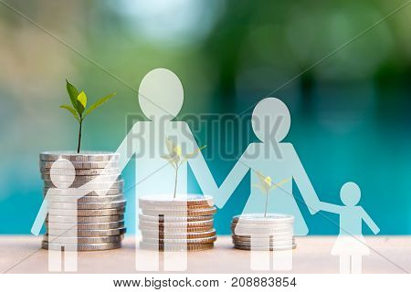 Family see the Plant Growing In Savings Coins. Money coin stack growing graph for the Real Estate business. Investment and Saving Concept