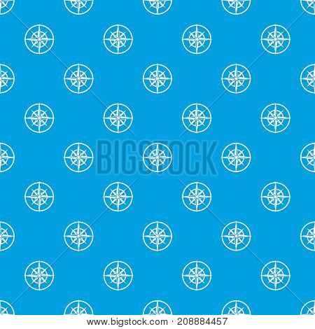Sign of compass to determine cardinal directions pattern repeat seamless in blue color for any design. Vector geometric illustration