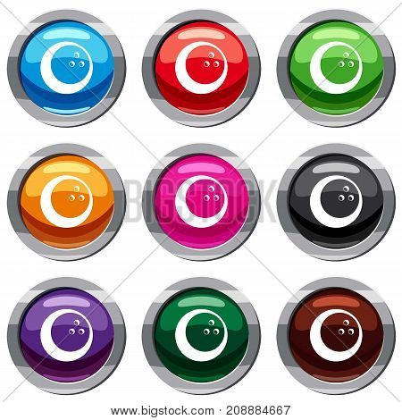 Marbled bowling ball set icon isolated on white. 9 icon collection vector illustration