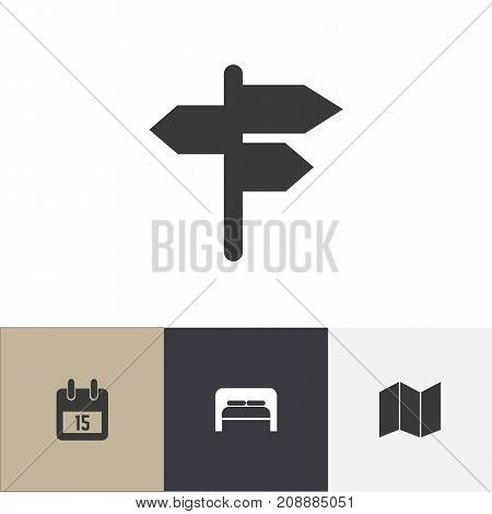Set Of 4 Editable Trip Icons. Includes Symbols Such As Pamphlet, Date Block, Bedtime And More poster