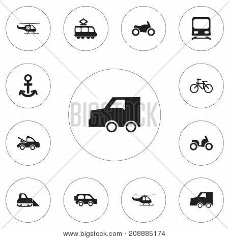 Set Of 12 Editable Transportation Icons. Includes Symbols Such As Moped, Auto, Tractor And More