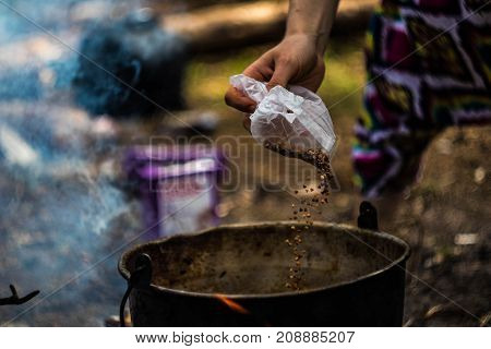 meal cooking at the hike time Lithuania