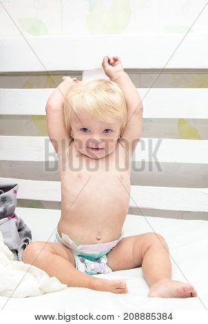 Little Girl Baby Blonde Woke Up In Her Bed