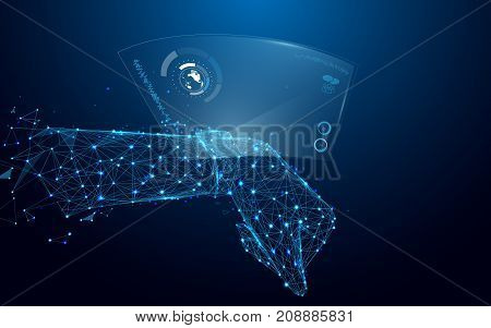 Hand with smart watch and technological digital holographic plate from lines and triangles point connecting network on blue background. Illustration vector