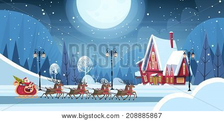 Santa Riding In Sledge With Reindeers, Merry Christmas And Happy New Year Greeting Card Winter Holidays Concept Banner Flat Vector Illustration