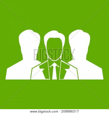 Recruitment icon white isolated on green background. Vector illustration