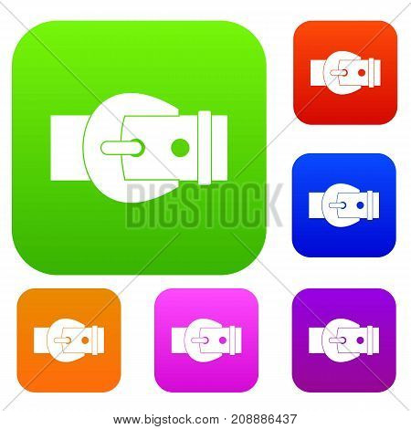 Buckle set icon color in flat style isolated on white. Collection sings vector illustration