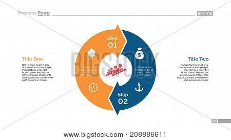 Circle arrow diagram slide template. Element of chart, infographic, diagram. Concept for templates, presentation, layout. Can be used for topics like business, marketing, trade, strategy, planning