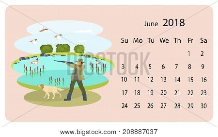 Monthly calendar 2018 with cute dogs and owners. Funny scenes with cute characters. Illustration for planner design, cards, printing, wallpaper with animals. Vector eps 10