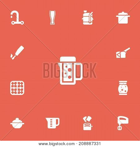 Set Of 13 Editable Cook Icons. Includes Symbols Such As Thermo Mug, Squeezer, Mensural And More