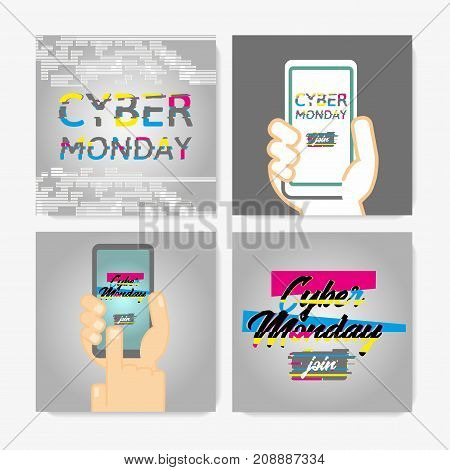 Cyber Monday Poster Set. Glitch Effect text on a gray background. Pictures showing person's hand holding a smartphone. Can be used for special offers, online sales and web promotion.