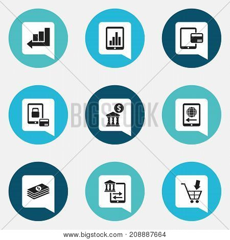 Set Of 9 Editable Investment Icons. Includes Symbols Such As Shopping Pushcart, Court House, Salary And More