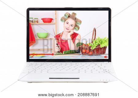Food Video Blog Concept - Woman Making Food On Laptop Screen Isolated On White