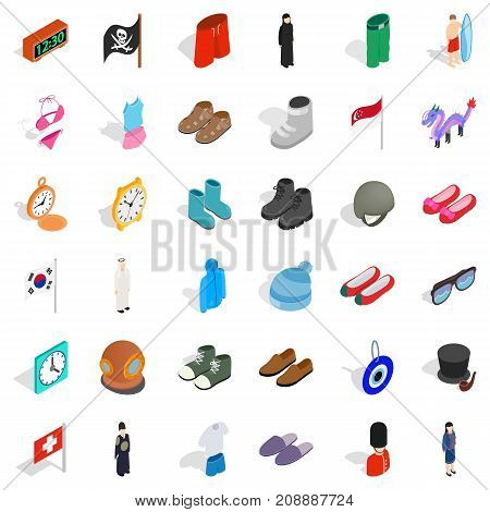 Model icons set. Isometric style of 36 model vector icons for web isolated on white background