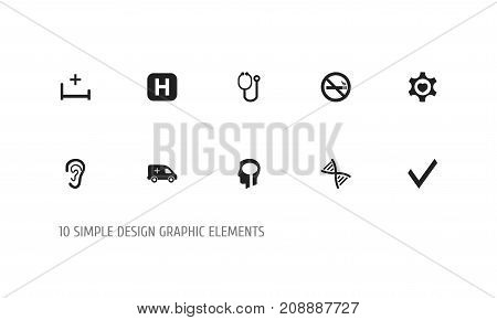 Set Of 10 Editable Health Icons. Includes Symbols Such As Heart, Mark, Intelligence And More