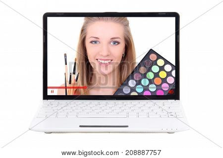 Beauty Blog Concept - Video About Make Up Applying On Laptop Screen Isolated On White