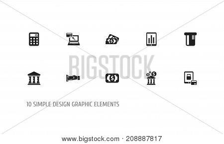 Set Of 10 Editable Financial Icons. Includes Symbols Such As Loan, Tax, Remuneration And More