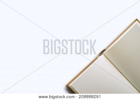 Blank diary notebook on the white background with copy space
