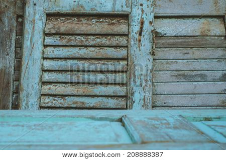 Old vintage wooden door and window in second hand furniture store