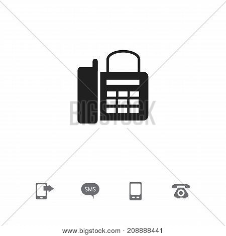Set Of 5 Editable Device Icons. Includes Symbols Such As Telecommunication, Share Display, Mobile And More