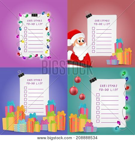 Christmas To-Do List Set. Collection of illustrations with Santa Claus, gift boxes, ball ornaments and lights.