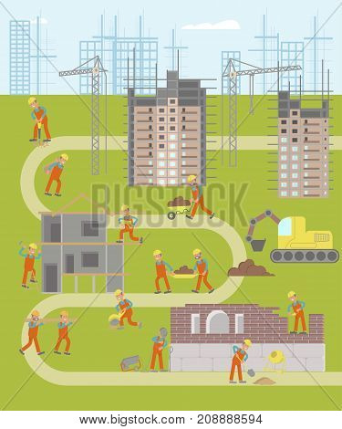Construction plant infographic map with working in flat design. Builders build houses isolated on white background. Vector illustration eps 10