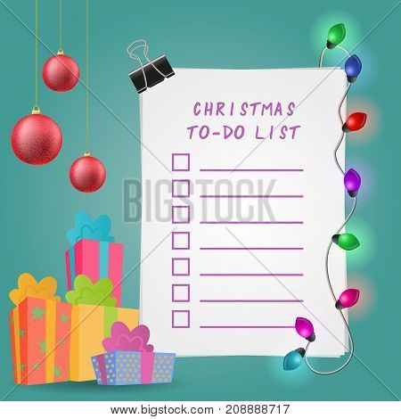 Christmas To-do list. Vector illustration with gift boxes, lights and ball ornaments.
