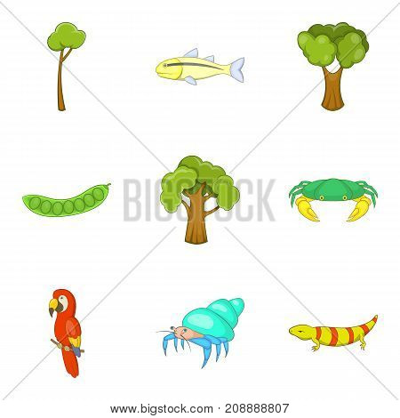 Green world icons set. Cartoon set of 9 green world vector icons for web isolated on white background