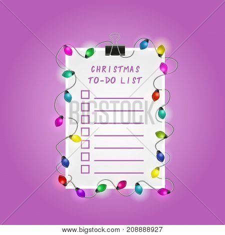 Christmas To-Do List Illustration. Picture with fairy lights and magic garland.