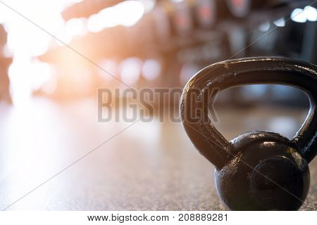 Metal Weight In Gym. Kettlebell In Health Club. Fitness, Training, Healthy Lifestyle Concept