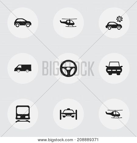 Set Of 9 Editable Transportation Icons. Includes Symbols Such As Chopper, Washing Auto, City Drive And More