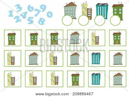 Counting Game for Preschool Children. Educational a mathematical game. Count how many and write the result