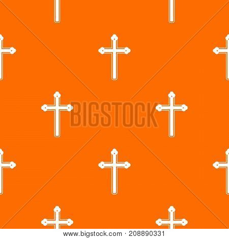 Holy cross pattern repeat seamless in orange color for any design. Vector geometric illustration