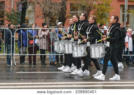 MOSCOW RUSSIA 14 OCTOBER 2017: Carnival parade in Moscow dedicated to the 19th World Youth Day and students.